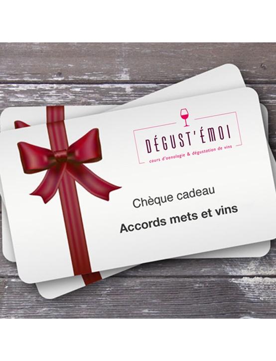 Chèque cadeau accords mets et vins