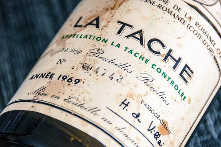 Prix du vin : Bouteille de La tache 1969