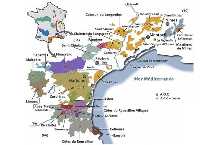 cours doenologie et degustation de vin carte Languedoc-Roussillon